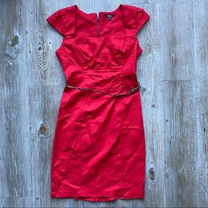 XOXO | Red Dress with Leopard Belt